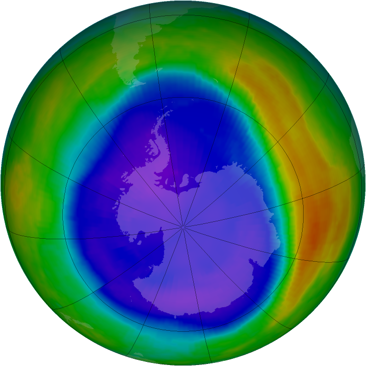 Antarctic ozone map for 07 September 2000