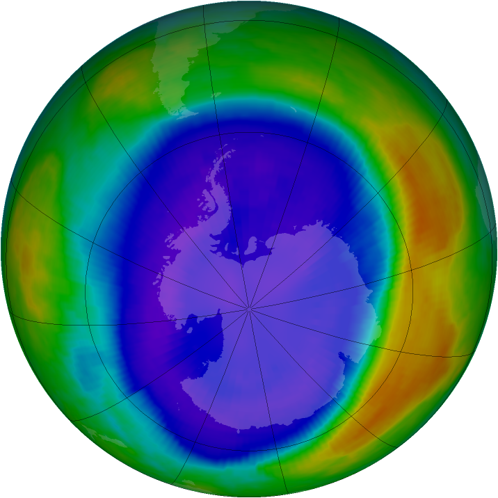 Antarctic ozone map for 09 September 2000