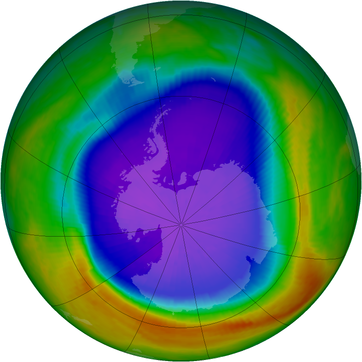 Antarctic ozone map for 24 September 2000