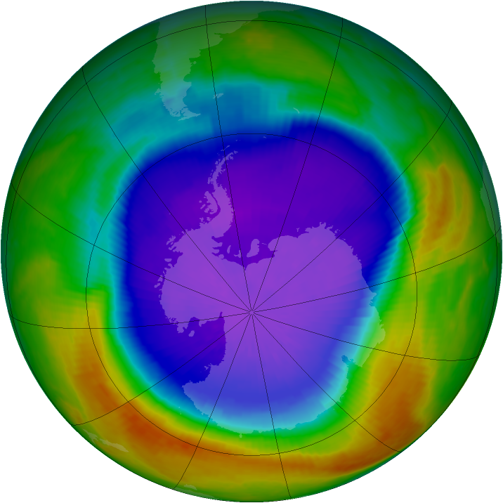 Antarctic ozone map for 25 September 2000