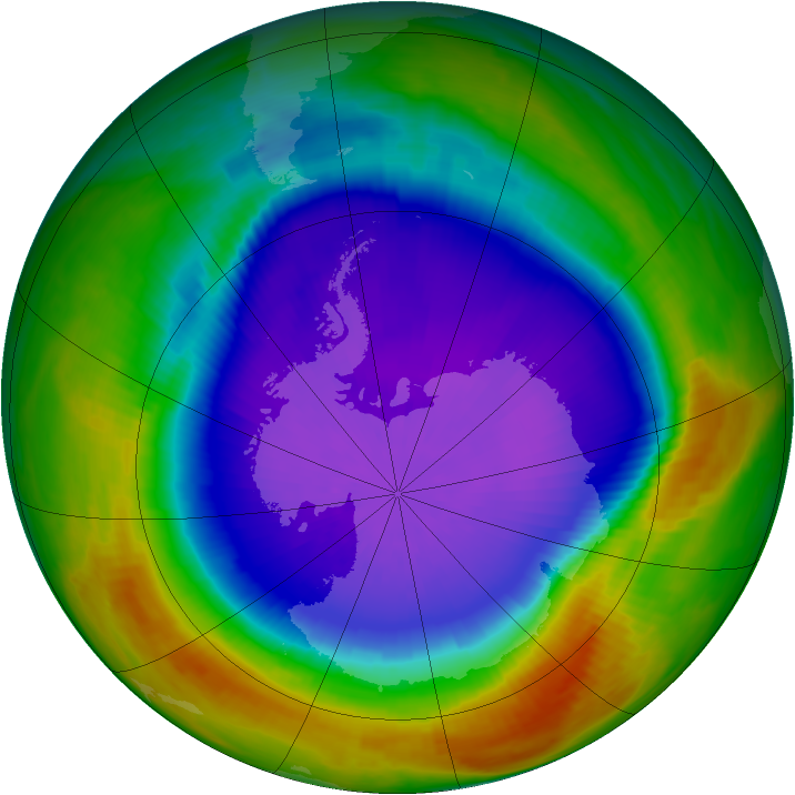 Antarctic ozone map for 26 September 2000