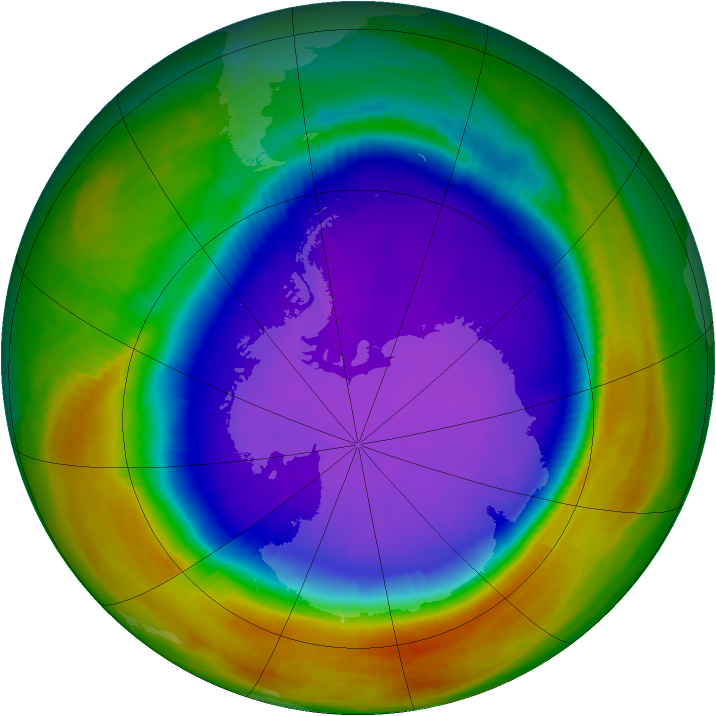 Antarctic ozone map for 28 September 2000
