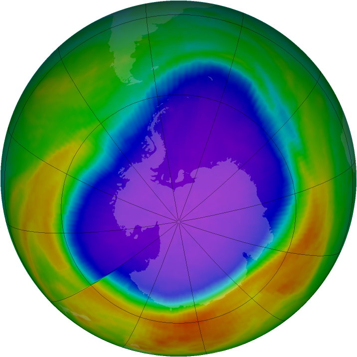 Antarctic ozone map for 29 September 2000