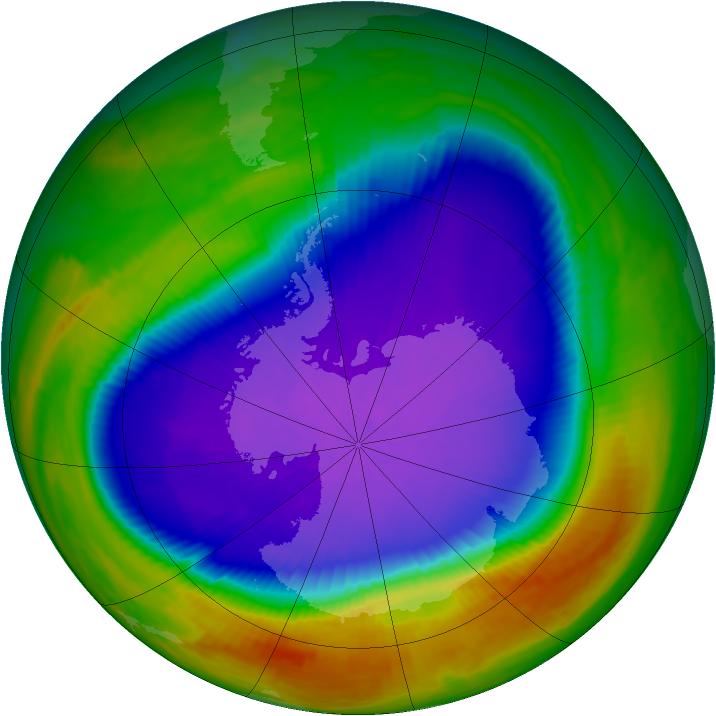 Antarctic ozone map for 30 September 2000