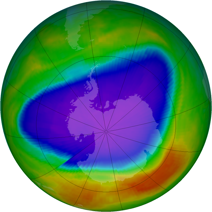 Antarctic ozone map for 01 October 2000