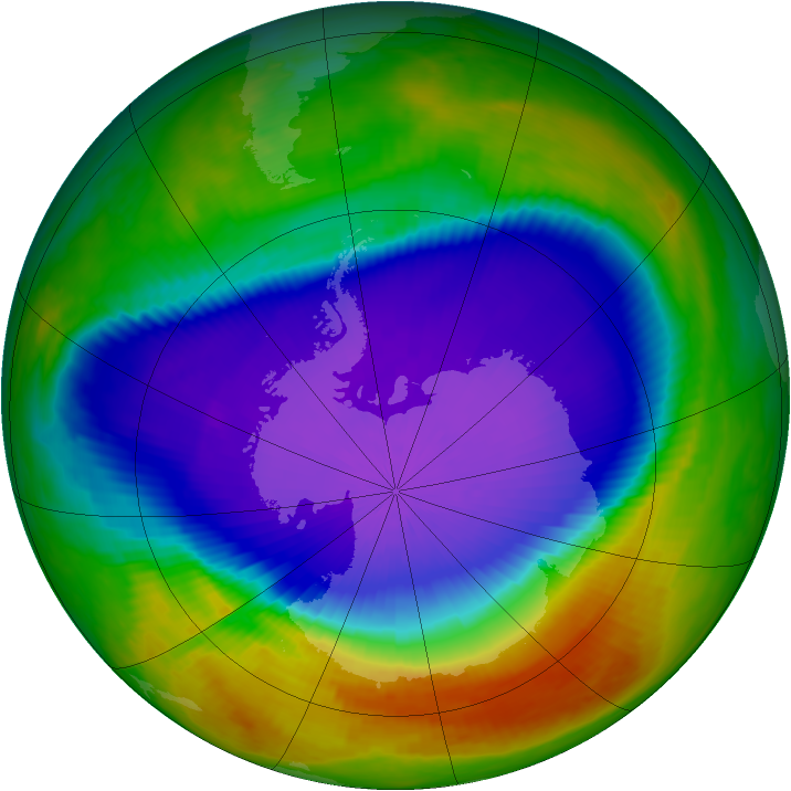 Antarctic ozone map for 02 October 2000