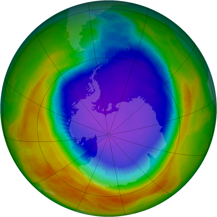 Antarctic ozone map for 09 October 2000