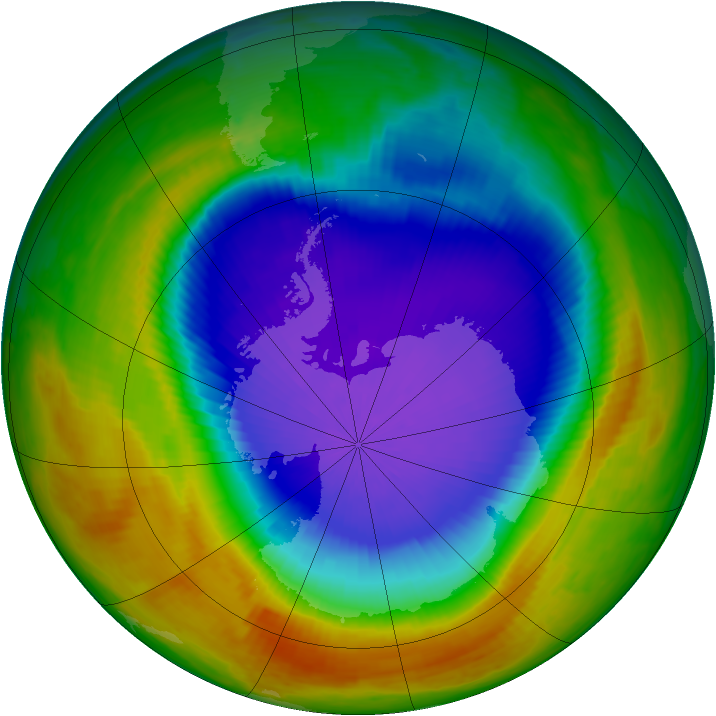 Antarctic ozone map for 10 October 2000