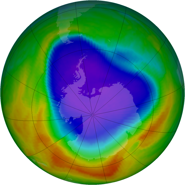 Antarctic ozone map for 11 October 2000