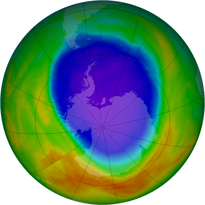 Antarctic ozone map for 16 October 2000
