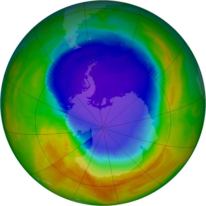 Antarctic ozone map for 17 October 2000