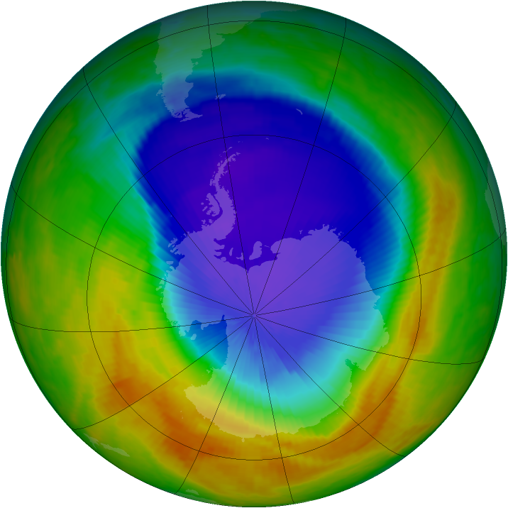 Antarctic ozone map for 18 October 2000