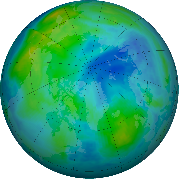 Arctic ozone map for 19 October 2000