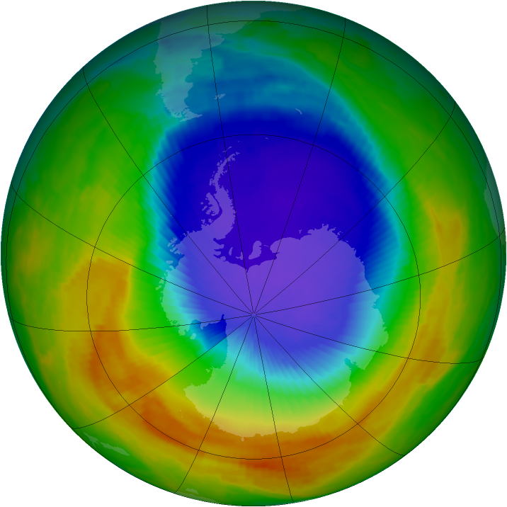 Antarctic ozone map for 20 October 2000