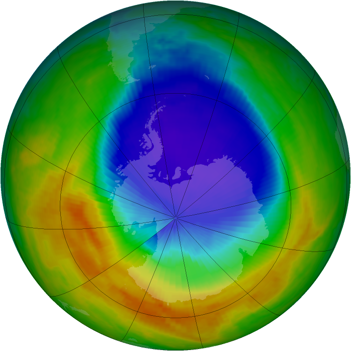 Antarctic ozone map for 21 October 2000