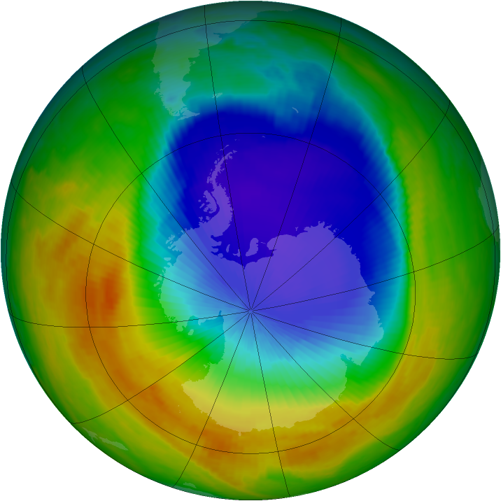 Antarctic ozone map for 22 October 2000