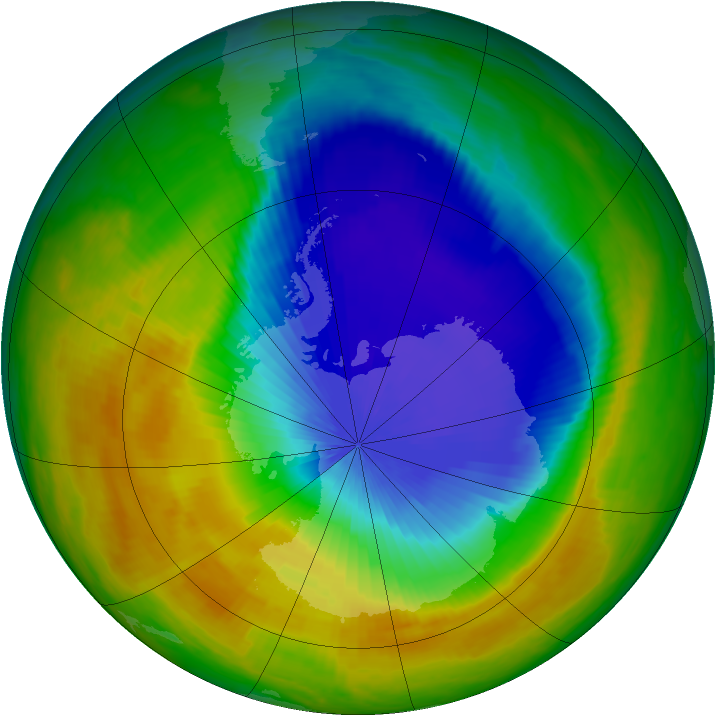 Antarctic ozone map for 23 October 2000