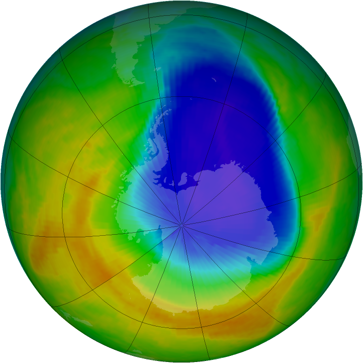Antarctic ozone map for 24 October 2000