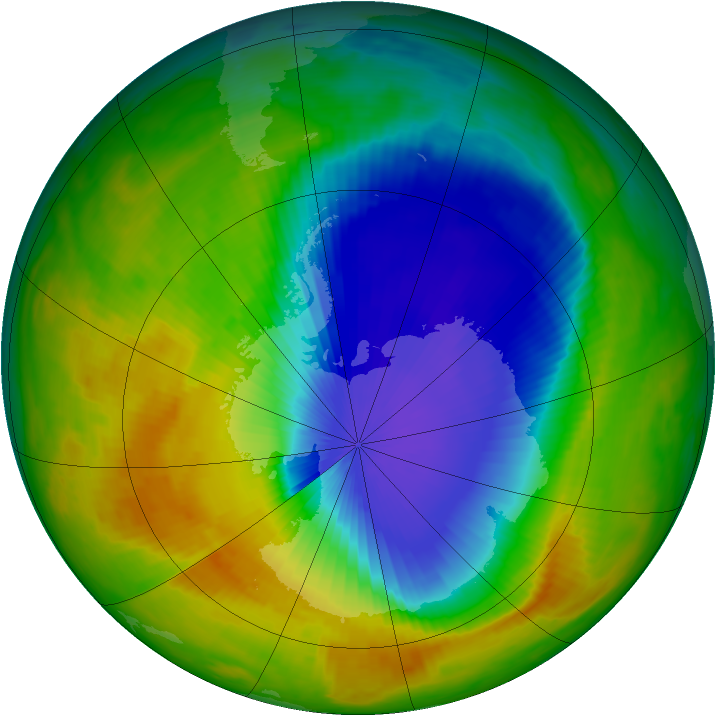 Antarctic ozone map for 26 October 2000