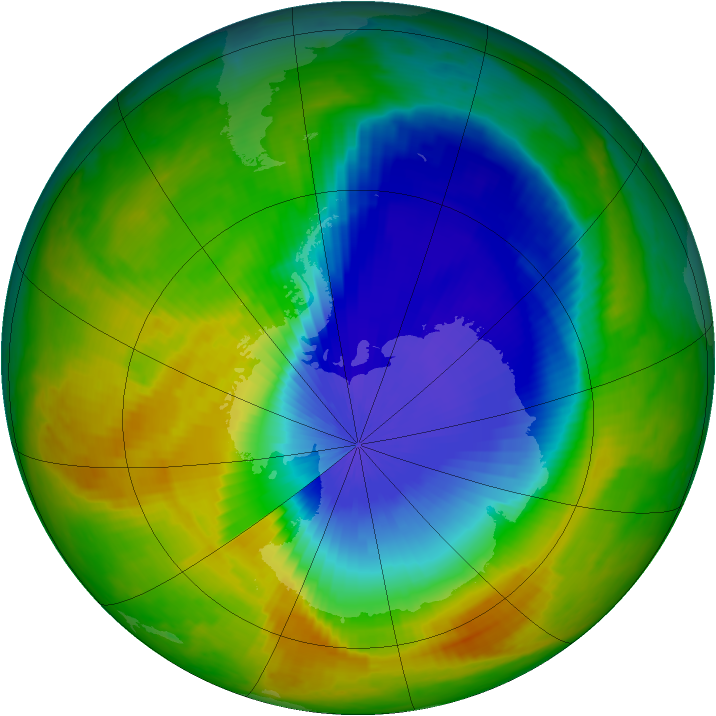 Antarctic ozone map for 27 October 2000
