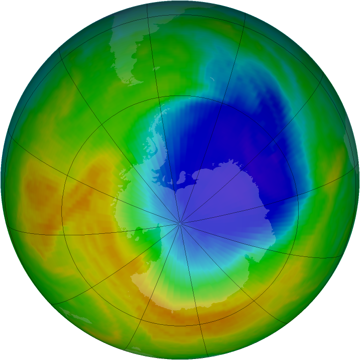 Antarctic ozone map for 29 October 2000