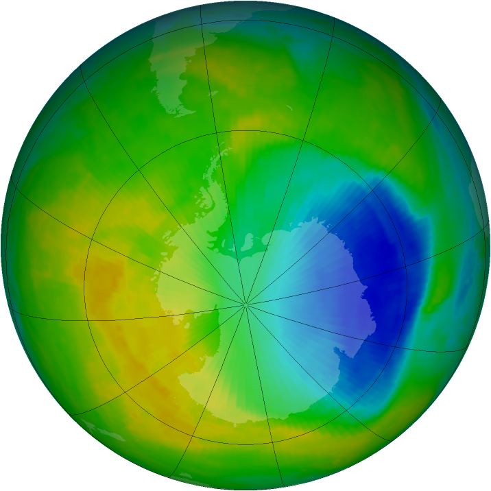 Antarctic ozone map for 13 November 2000
