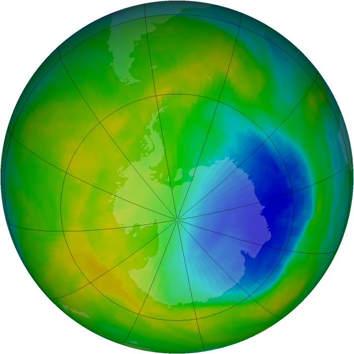 Antarctic ozone map for 15 November 2000
