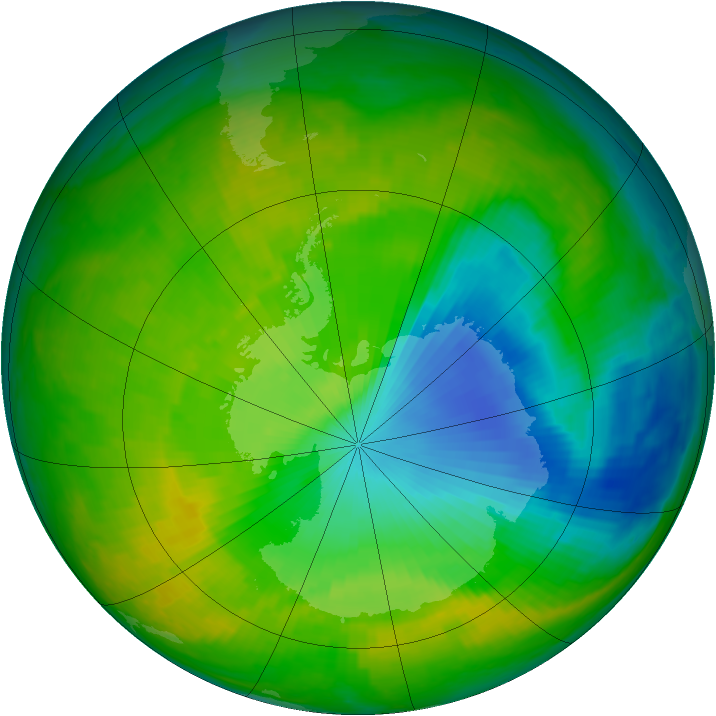 Antarctic ozone map for 18 November 2000