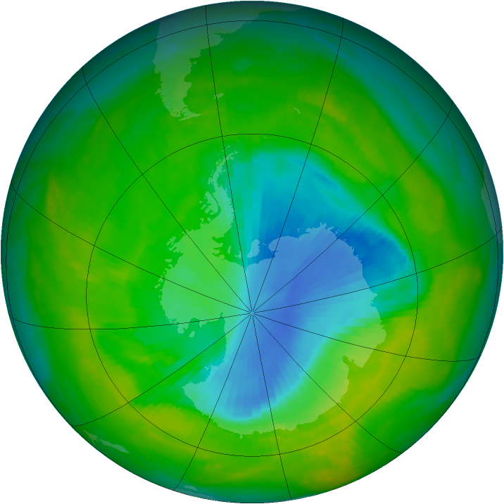 Antarctic ozone map for 26 November 2000