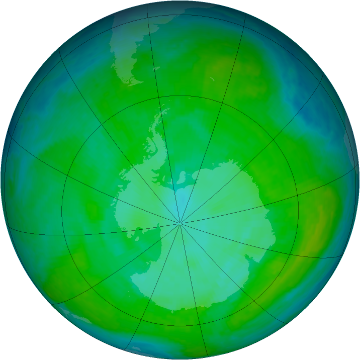 Antarctic ozone map for 21 December 2000