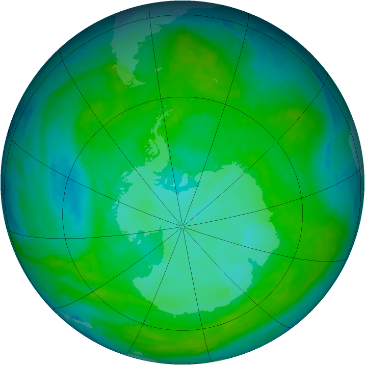 Antarctic ozone map for 23 December 2000