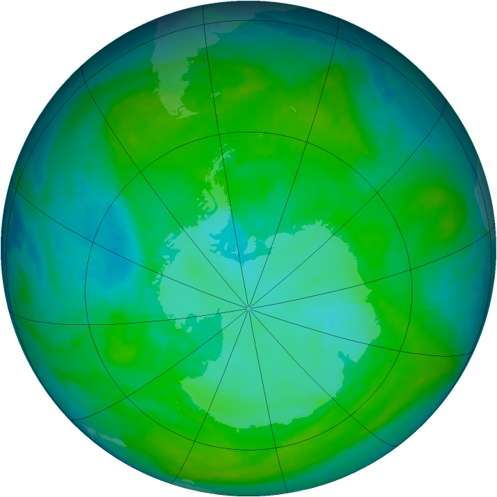 Antarctic ozone map for 24 December 2000