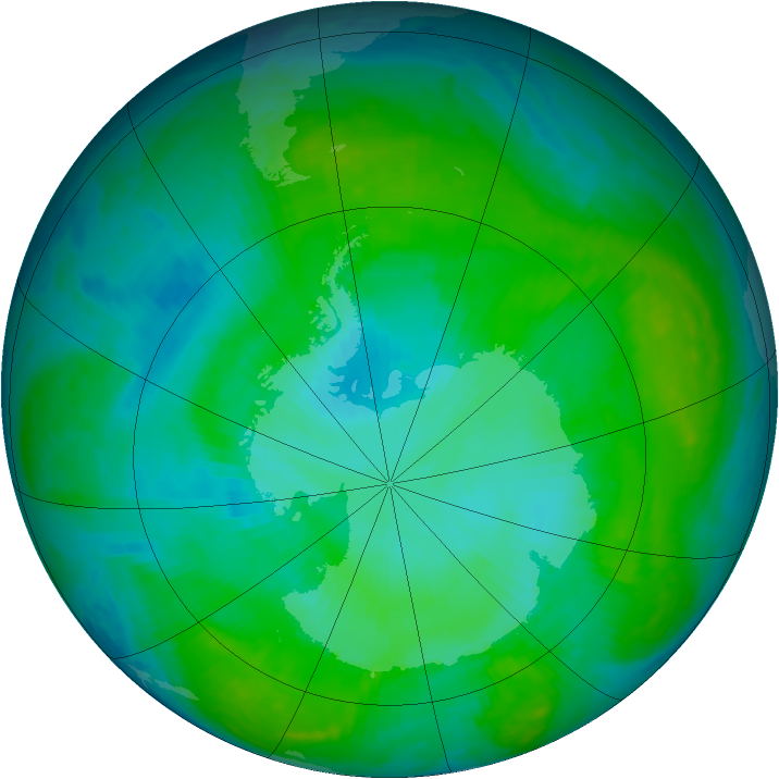 Antarctic ozone map for 28 December 2000