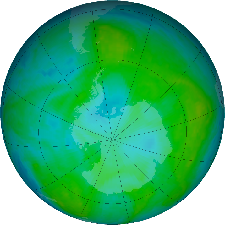 Antarctic ozone map for 29 December 2000
