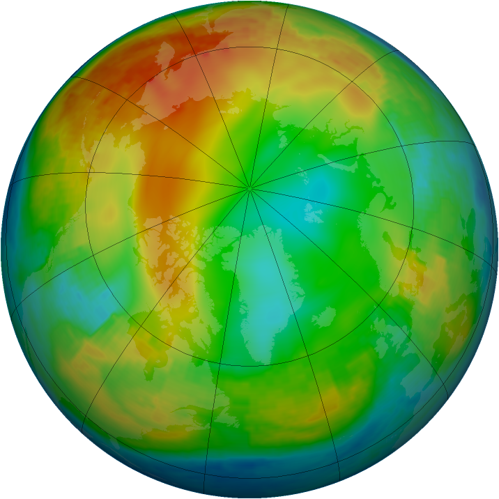 Arctic ozone map for 31 December 2000