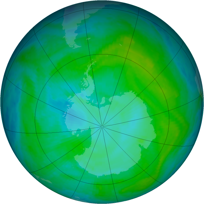 Antarctic ozone map for 02 January 2001