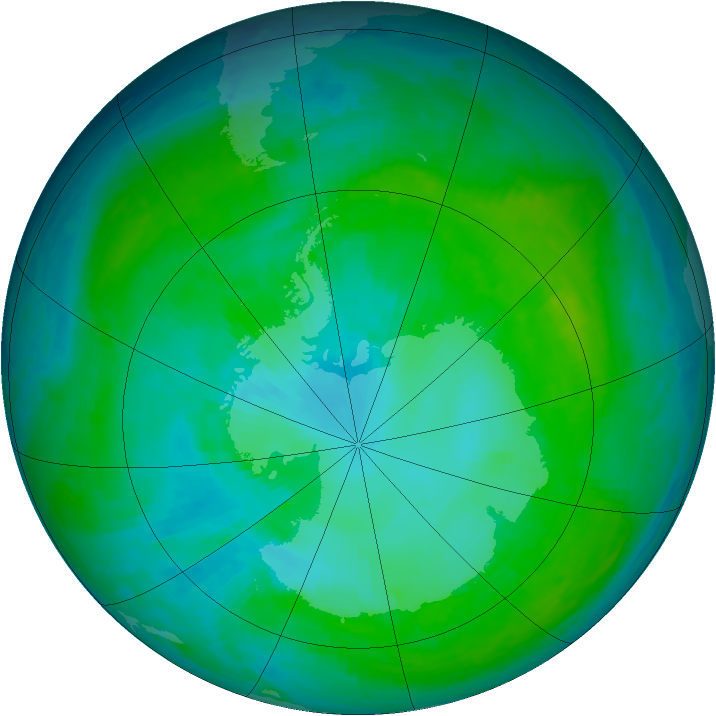 Antarctic ozone map for 05 January 2001