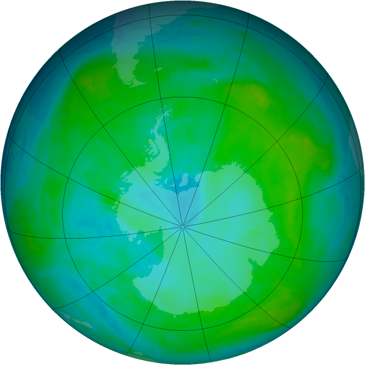Antarctic ozone map for 06 January 2001
