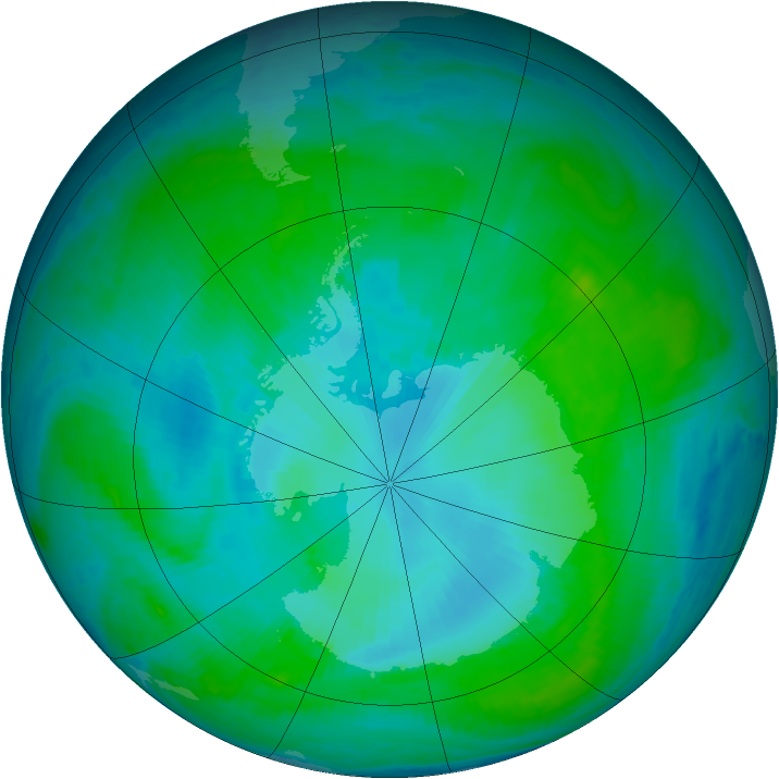 Antarctic ozone map for 16 January 2001