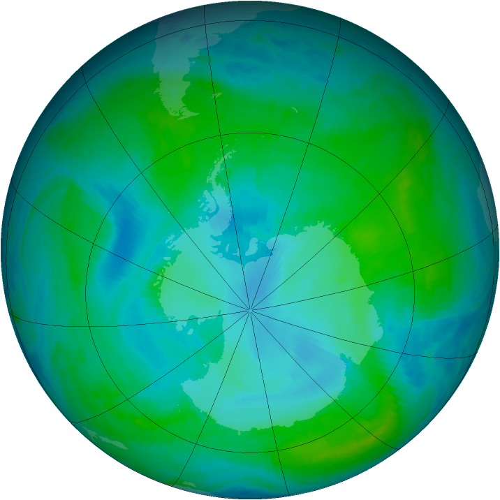 Antarctic ozone map for 17 January 2001