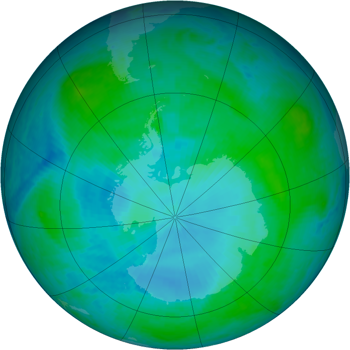 Antarctic ozone map for 29 January 2001