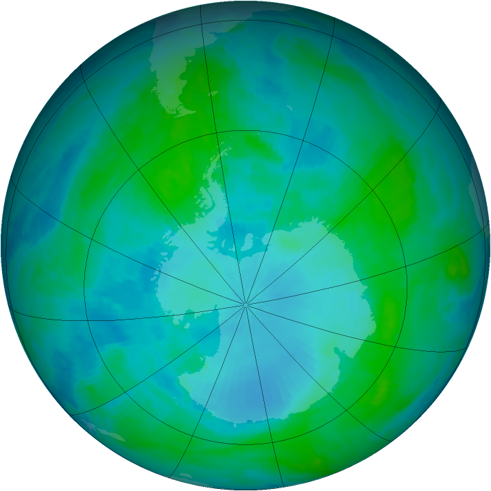 Antarctic ozone map for 31 January 2001