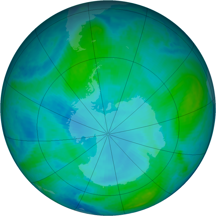 Antarctic ozone map for 02 February 2001