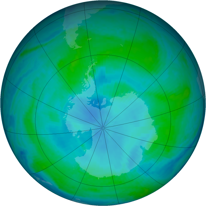 Antarctic ozone map for 05 February 2001
