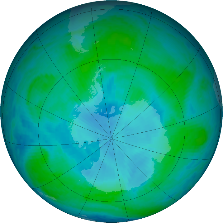Antarctic ozone map for 06 February 2001