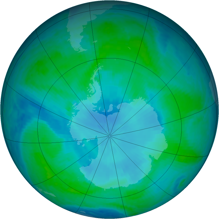 Antarctic ozone map for 07 February 2001