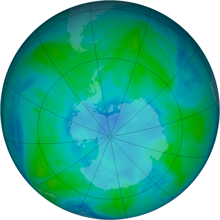 Antarctic ozone map for 08 February 2001