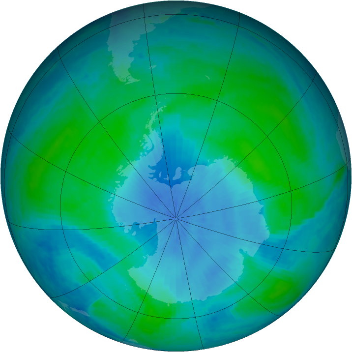 Antarctic ozone map for 14 February 2001