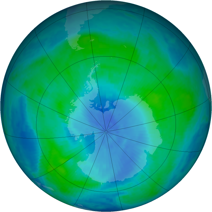 Antarctic ozone map for 17 February 2001