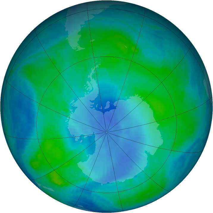 Antarctic ozone map for 18 February 2001